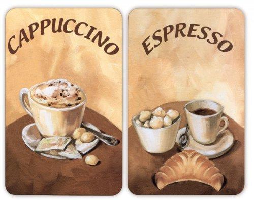 WENKO 2521280100 Coprifornelli In Vetro Universal Caffè, Set 2 Pezzi, Per Tutti I Tipi Di Piani Di Cottura, Vetro Temperato, 30 X 52 Cm, Multicolore