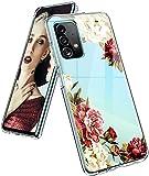Funda para Samsung Galaxy A52, funda de silicona transparente, diseño de flores, funda protectora delgada y suave, TPU, funda flexible resistente a los arañazos para Samsung A52 5G/4G