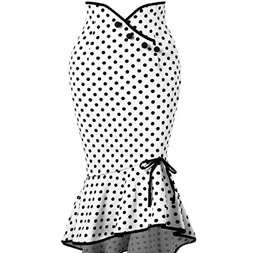YWLINK Mode UnregelmäßIg Damen Bodycon HüFte A Linie Engen Midi Rock Polka Dot RüSchen Fischschwanz Party Rock(XL,White )