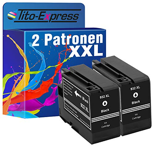 Tito-Express PlatinumSerie 2 cartucce XXL compatibili con HP 932 XL Black | Adatto per HP OfficeJet 6700 Premium 7510 7612 7610 7110 WF 6600 7600 Series 6100 E 6600