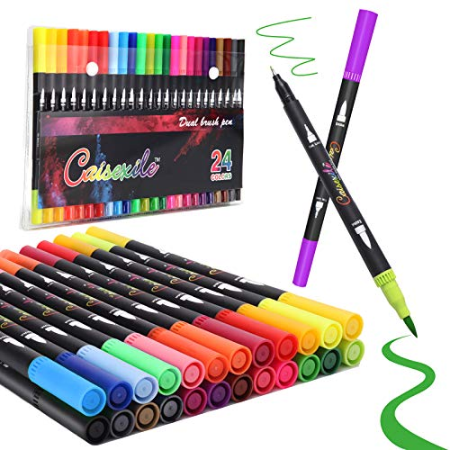24 Colors Dual Brush Pens Art Markers, Artist Fine & Brush Tip Pen Coloring Markers for Kids Adult Coloring Book Journaling Note Taking Lettering Calligraphy Drawing Pens Supplies