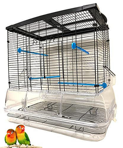 """Large 24"""" Acrylic Clear No Mess Bird Flight Cage for Pudgies Parakeets Aviary Cockatiels Canary Finch Sun Conure (Black, Cage Only)"""