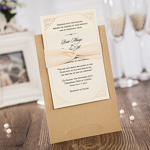 50PCS Wedding Invitations Jofanza Laser Cut Wedding Invitations Ribbon Set of 50pcs Invitation Cards with Kraft Insert for Engagement Baby Shower Birthday Quinceanera (CW6181)