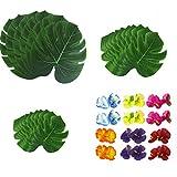 54 Piezas Tropicales Artificiales Hojas Palmeras Flores de Hibisco, Fiesta Hawaiana de Luau, Tema de Playa de la Selva para Cumpleaños, Decoraciones de Mesa
