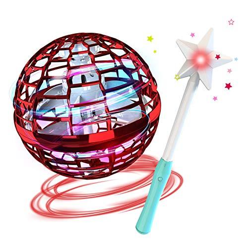 GoolRC Flynova Pro Bola Voladora Boomerang Spinner Dynamic RGB Lights con Control de Varilla Mágica (Bola Roja, con Palo mágico)