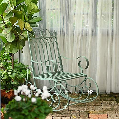 zenggp Veranda Schaukel Schaukelstuhl Robustes Metall Sessel Gartenmöbel Im Freien Schaukelsitz Vintage-Stil,Green