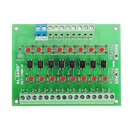 CAIJINJIN Module 8 Channel 3.3V To 12V Optocoupler Isolation Module PLC Signal Level Voltage Conversion Board NPN Output DST-1R8P-N Connector