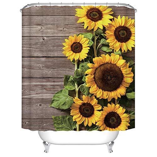 Boner Plant serie douchegordijn Badkamer Waterdicht Polyester Douchegordijn Bloemenprint Gordijnen voor badkamer met douche haken, D0816,180x180cm