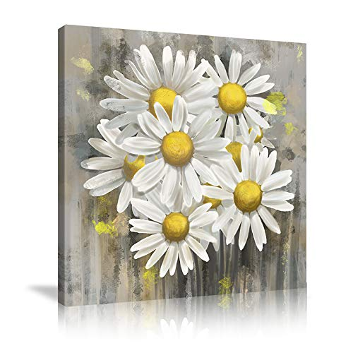 AMEMNY Flower Wall Decor Modern Hand-Painted Abstract Floral Wall Art Blooming Flower Oil Painting on Wrapped Canvas Artwork for Bedroom Living Room Framed Ready to Hang (Flower 05, 32inchx32inch)