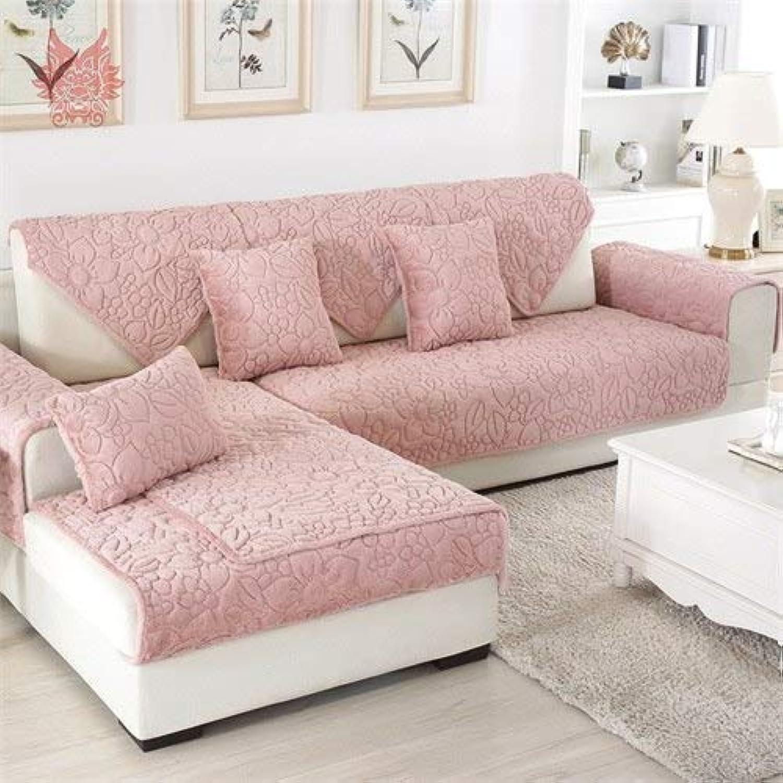 Farmerly Green Pink Floral Quilted Sofa Cover Winter Plush Long Fur slipcover fundas de Sofa sectional Couch Covers fundas de Sofa SP4973   Pink per pic, 90cm90cm