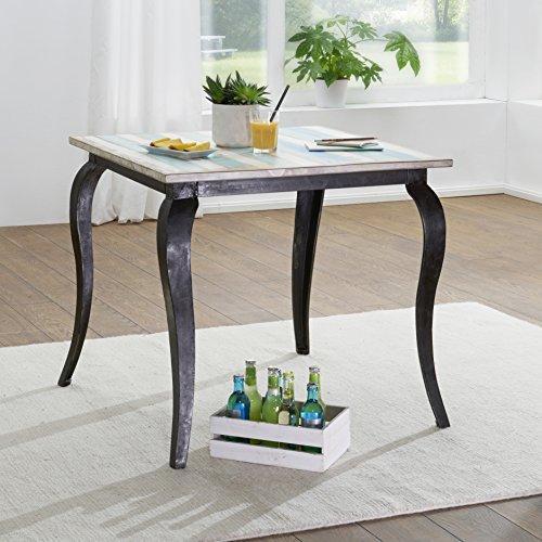 FineBuy Esstisch PINTU Massivholz Shabby Chic 80x77x80 cm Esszimmertisch modern | Design Küchentisch massiv klein | Massivholztisch Esszimmer | Vintage Tisch Naturholz quadratisch