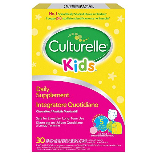 Culturelle Kids Food Supplement for Children | 30 chewable Tablets | 5 Billion Bacterial Cultures Lactobacillus Rhamnosus GG | Vegan | 30 Day Supply