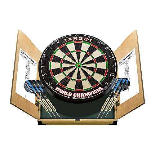 Target Darts World Champions Dartboard with 2 Sets of Darts in a Home Cabinet Set Diana y Armario, Sisal, marrón Claro, Estándar