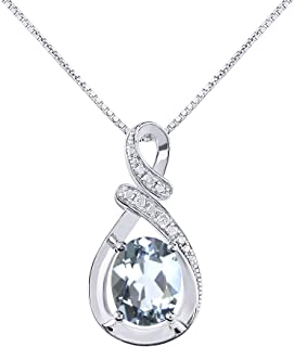 "Diamond & Aquamarine Pendant Necklace in 14K White Gold With 18"" Gold Chain - March Birthstone 9X7 Oval Color Stone""S"" Designer"