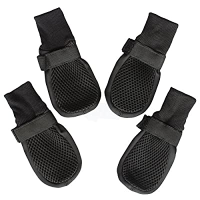 Dog Shoes Boots with Mesh Nonslip Rubber Soles to Protect Hardwood Floor and Prevent Scratching Licking Large Black L