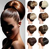 Straight Scrunchies Hair Bun Hepburn Style Updo Big Chignon Drawstring Donut Pony Tail Topknot Hairpiece Dark Blonde&Bleach Blonde