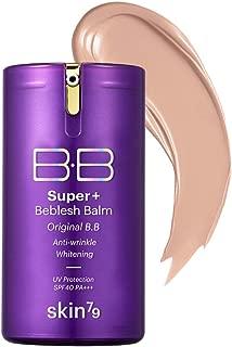 [SKIN79] Super Plus Beblesh Balm Triple Function Purple BB (SPF40/PA++) 1.35 fl.oz. (40g) - Water Glow Moisturizing BB, Natural Coverage Long Lasting Moisturizingb Makeup, Medium Sand Beige Color