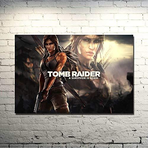 Wfmhra Lara Croft Tomb Beauty Game Art Poster Print Sala de Estar Decoración de la habitación 50x75cm Sin Marco