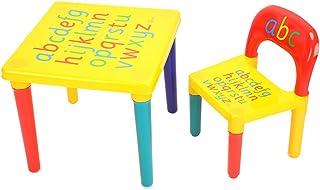 EBTOOLS Conjunto de mesa y silla para niños alfabeto mesa y silla para dormitorio infantil ABC letras del alfabeto, mueble de plástico multicolor para niños, mueble adorable y práctico