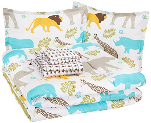 AmazonBasics Easy Care Super Soft Microfiber Kid's Bed-in-a-Bag Bedding Set - Full / Queen, Multi-Color Zoo Animals