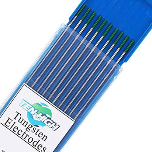 TEN-HIGH tig Electrodos de tungsteno Electrodos de soldadura, Tungsteno puro verde, Para...