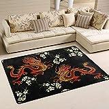 Mnsruu Alfombra japonesa de flores de dragón chino para sala de estar, dormitorio, 91 cm x 61 cm
