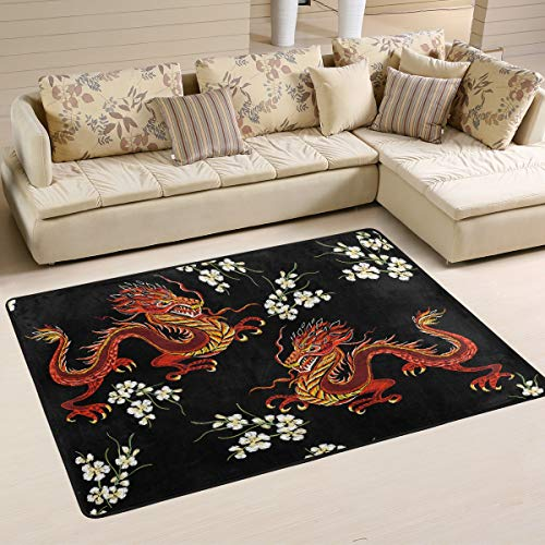 Mnsruu Japanese Chinese Dragon Flower Area Rug for Living Room Bedroom 183cm x 122cm(6 x 4 feet)