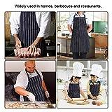 DECARETA 2 Stücke Kochschürze mit 2 Taschen, Premium Küchenschürze, Verstellbare Grillschürze für Männer, Frauen, Keller, Chef (Schwarze und weiße Streifen) - 5