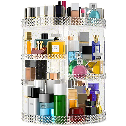 Famitree Rotating Makeup Organizer, Acrylic Clear Perfume Organizer, 7 Adjustable Layers Large Capacity Cosmetic Carousel, Fits Different Cosmetics and Toiletries,Plus Size (15in-gold, gold)…