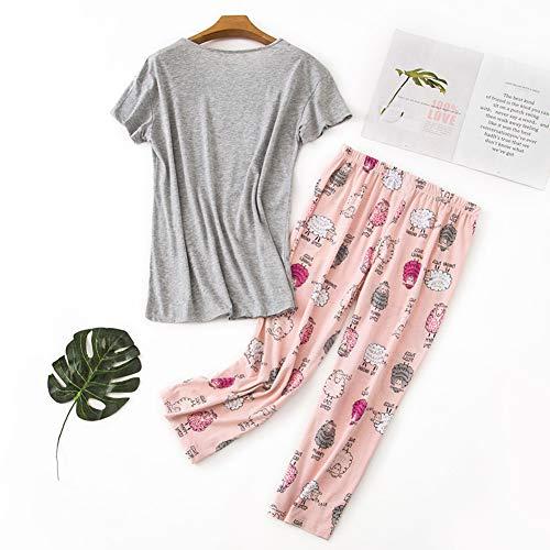 Rojeam Conjunto de Pijama Informal para Mujer Camisas de Manga Corta de algodón con Pantalones Capri Ropa de Dormir de Verano