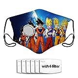 Qefgjbw CUBIERTA de polvo de filtro de carbón activado Dragon Ball Goku CUBIERTA con válvula con 6 filtros