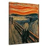 Wandbild Edvard Munch Der Schrei - 50x70cm hochkant - Alte Meister Berühmte Gemälde Leinwandbild Kunstdruck Bild auf Leinwand