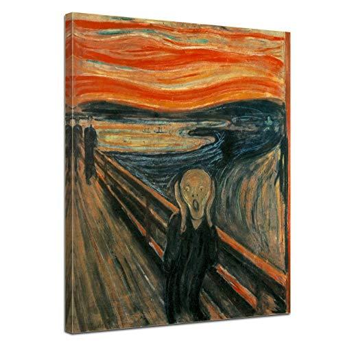 Wandbild Edvard Munch Der Schrei - 40x50cm hochkant - Alte Meister Berühmte Gemälde Leinwandbild Kunstdruck Bild auf Leinwand