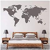Biblioteca de lectura escolar mapa del mundo etiqueta de la pared decoración del hogar arte calcomanía de pared sala de estar dormitorio decoración mural vinilo extraíble 70 * 126 cm (gris)