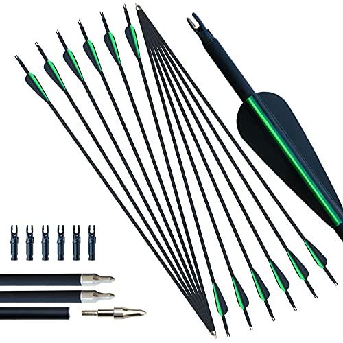 D Q Tiro con L'Arco Freccia in Carbonio per esercitazioni Frecce da Caccia 30 Pollici con Punte Rimovibili per Arco Composto e ricurvo (Nero e Verde)