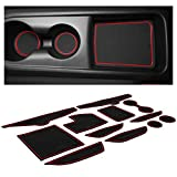 CupHolderHero for Hyundai Veloster Accessories 2019-2021 Premium Custom Interior Non-Slip Anti Dust Cup Holder Inserts, Center Console Liner Mats, Door Pocket Liners 12-pc Set (Red Trim)