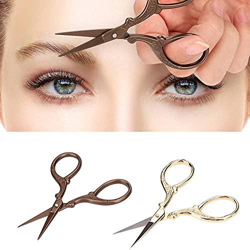 2pcs ciseaux à sourcils, ciseaux de maquillage beauté en acier inoxydable en forme de grue vintage pour les sourcils garniture