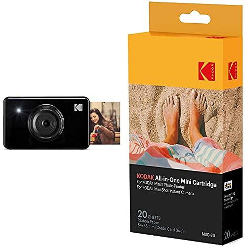 Kodak Mini Shot - Impresiones Inalámbricas de 5 X 7.6 cm con 4 Pass, Tecnología de Impresión Patentada + –Cartucho MC impresión fotográfica Mini, Todo en uno, Tinta y Papel