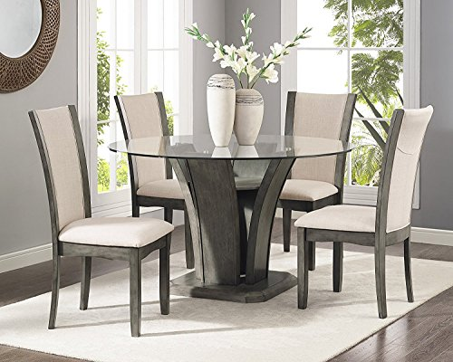 Roundhill Furniture Kecco Grey 5-Piece Glass Top Dining Set, Table with 4 Chairs