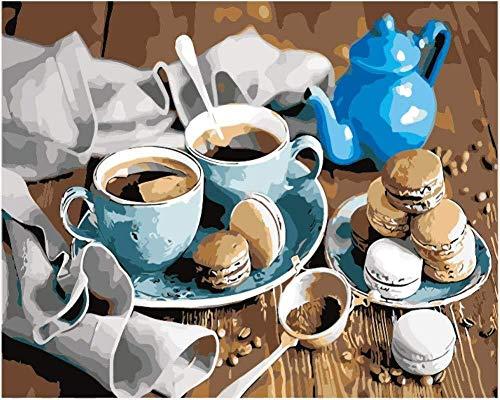 MEEKIS Malen Sie Nach Zahlen Für Kinder DIY Coffee Macaron Biscuit Cup Teekanne Für Erwachsene 40x50cm-With Frame