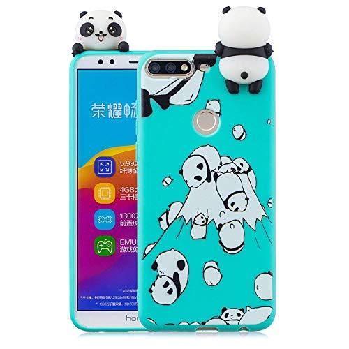 Wubao Compatible con Funda Huawei Honor 7C, Carcasa 3D Animal Muñeca Color Caramelo Case Cover Ultrafino Mate Suave Flexible Silicona TPU Gel Protector Antigolpes - Panda
