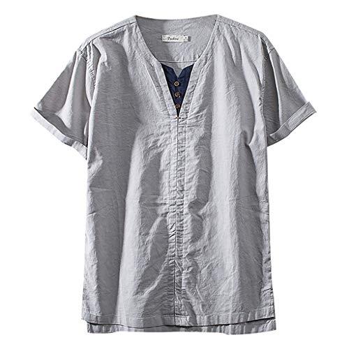 KPILP Herren Hemd Solide Lange Ärmel V-Ausschnitt Leinenhemden Lässig Basic Business Fit Bluse Sommer Outwear(A10-grau,EU-60/CN-4XL)