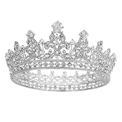 FUMUD Charm Rhinestone Zircon Crown Bridal Tiara Crystal CZ Diadem For Bride Princess Pageant Wedding Hair Accessories (Silver)