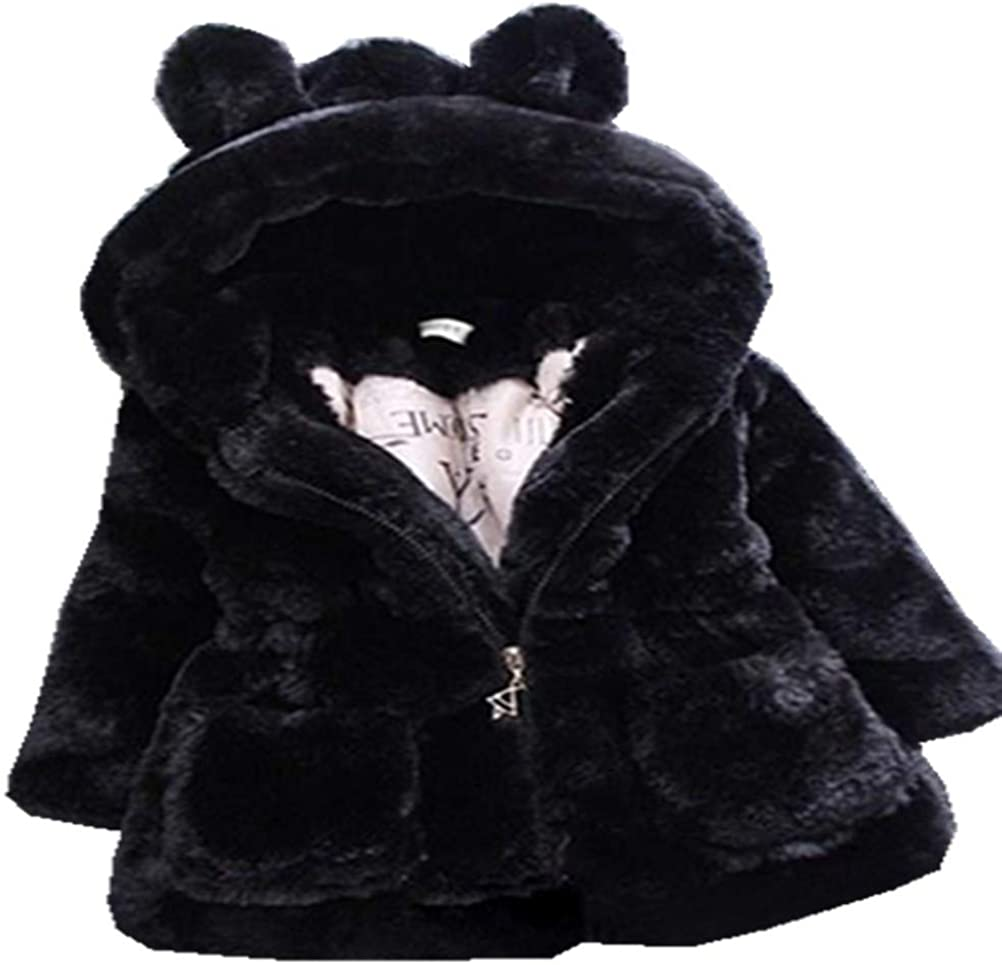 Ranking TOP1 ADO Free shipping anywhere in the nation Stap Little Girls Winter Fleece Coat Hood Fur with Faux Kids