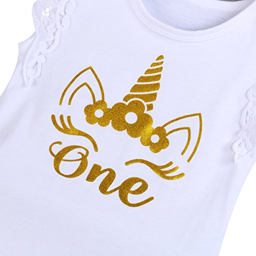 FYMNSI Infantil Bebé Niña Es mi Primer Vestido de Cumpleaños Mameluco de Manga de Encaje + Falda Tutu Rosa + Diadema Corona de la Princesa 3pcs Traje de 1 Año Fiesta Fotografía Vestir Blanco 03 12-18M