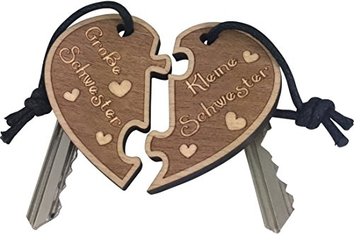 endlosschenken Schlüsselanhänger Grosse Schwester - Kleine Schwester doppelseitige Gravur aus Holz, Geschenk