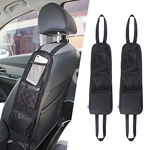 CHENYI Bolsa de almacenamiento lateral para asiento de coche, de tela Oxford, 2 unidades, con 3 bolsillos, multifuncional