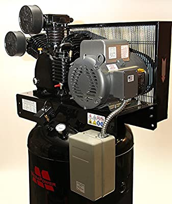 7.5 HP Single Phase Motor 80 gal Vertical Air Compressor w Two Stage Pump w starter by Mega Compressor