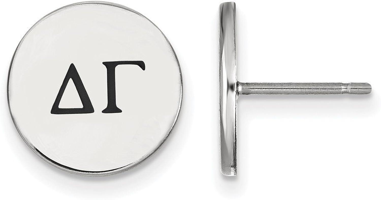 Beautiful Sterling silver 925 sterling Sterling Silver Rhplated LogoArt Delta Gamma Enameled Post Earrings