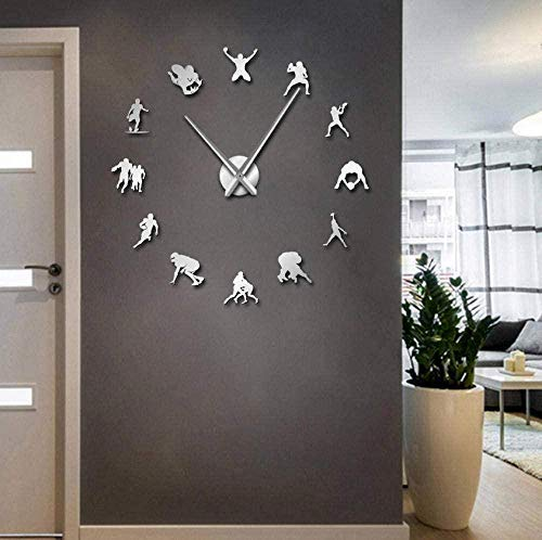 YILUXIANG Wall Clock Creative Stickers Gift Vinyl 27Inch Football Soccer Game Sport DIY Giant Rugby Frameless Big Time Needles User-Defined Clock Goalkeeper Athlete Room Deco